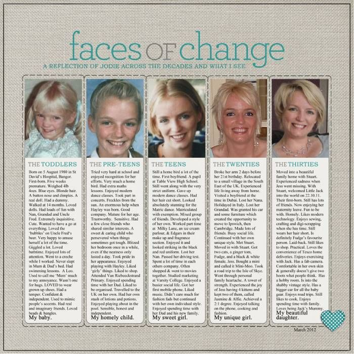 Faces of Change...scrap a lifetime on a single page! Divide a life story into columns by stages and decades and describe major events, likes, accomplishments, personality etc. with a photo at every age. This is so much fun for viewers to see how much has changed and what remains the same over time!