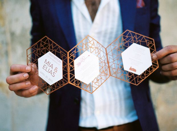 Modern Geometric Marsala Wedding Inspiration by Siegrid Cain | see tis beautiful shoot in full on www.onefabday.com