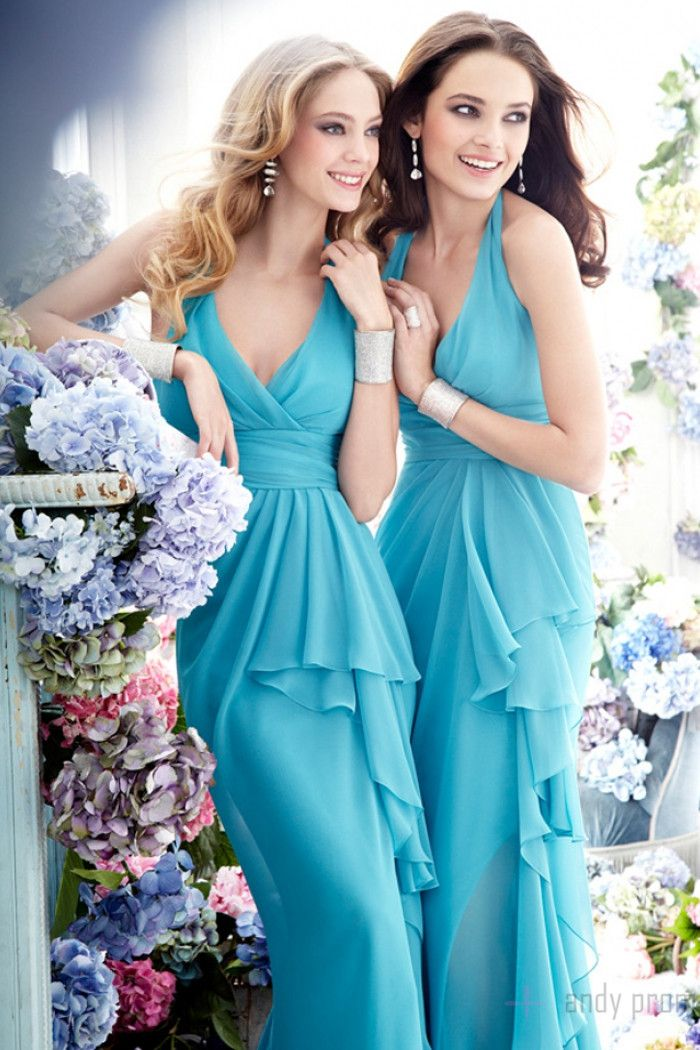 Empire Fashion A-line Halter Zipper Bridesmaid Dress