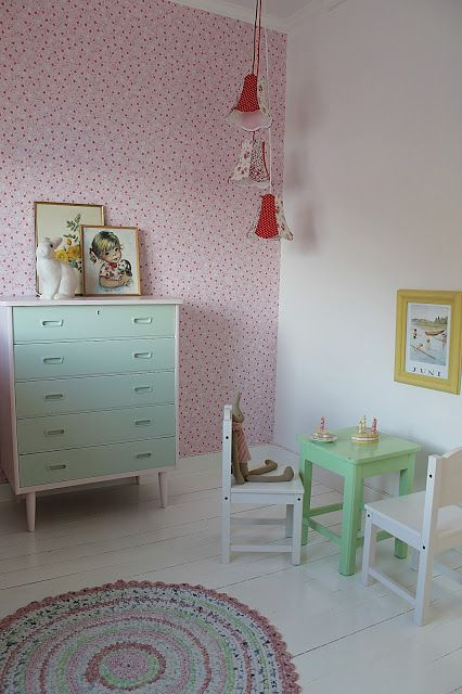 // LOVE the one wallpapered wall and the colors // #Babykamer #nursery   husetvedfjorden
