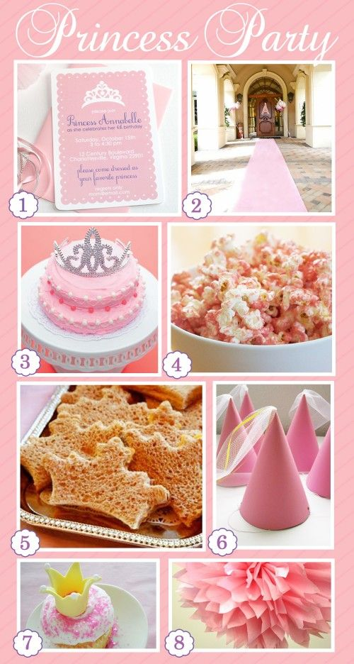 Birthday Party Ideas | Princess Party — Simply Swanky. I like the crown rice treats (maybe use with jello jigglers) and the pink popcorn