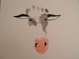kids footprint ideas:  a Latte with Ott, A: baby footprint cow with watercolor tutorial