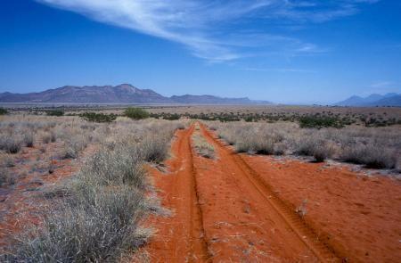 Road to endless horizons Marienfluss passing Hartmannsberge 8500 km through magic Namibia • breathtaking