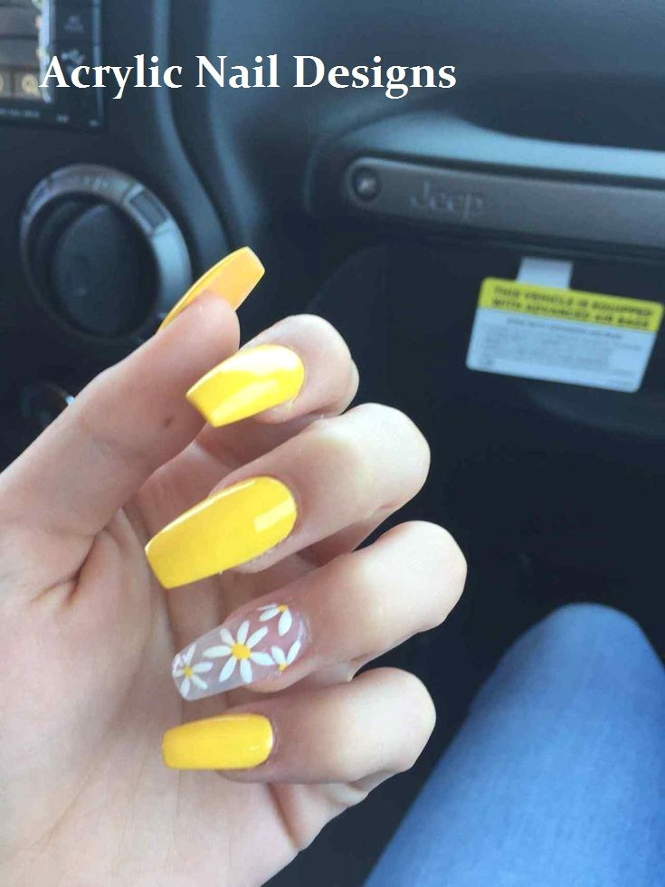 20 Great Ideas How To Make Acrylic Nails By Yourself Nailart Nailideas Sunflower Nails Yellow Nails Design Acrylic Nails Yellow