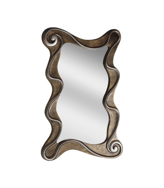 Espelho moldura de retangular com ondas de prata antigas