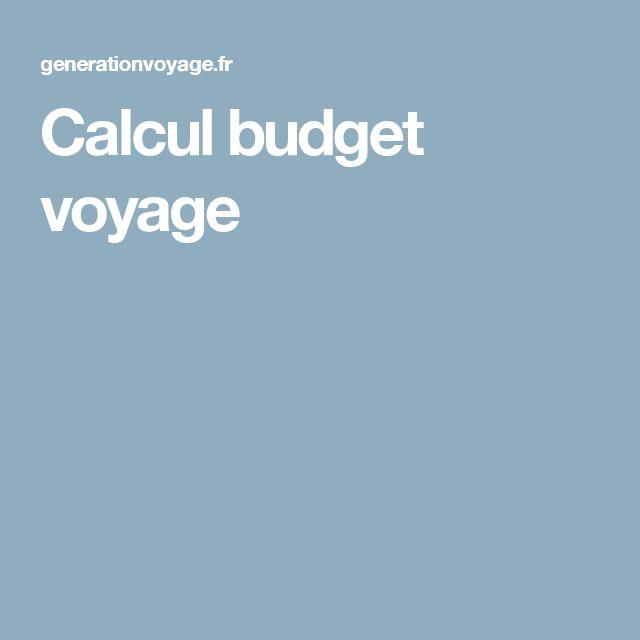Calcul budget voyage