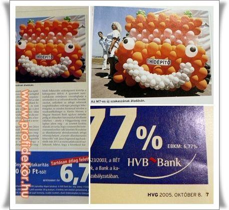 A lap sarkán látható dátum szerint a HVG 2005. október 8-i számában szerepelt a teherautó léggömbszobrunk.