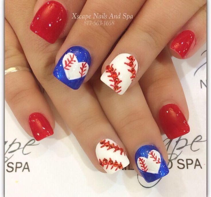 Texas Rangers nail designs