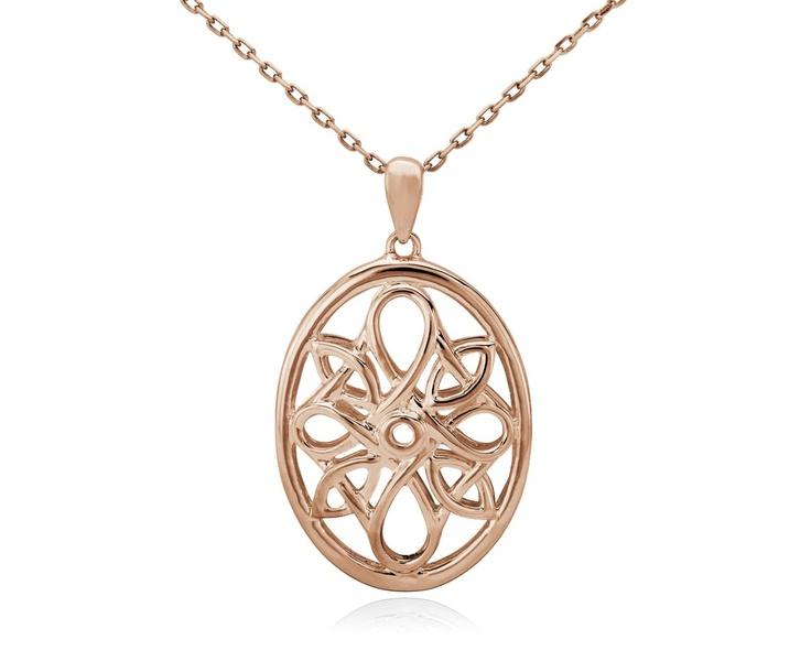 Oval Medallion Necklace In 14k Rose Gold Rose Gold