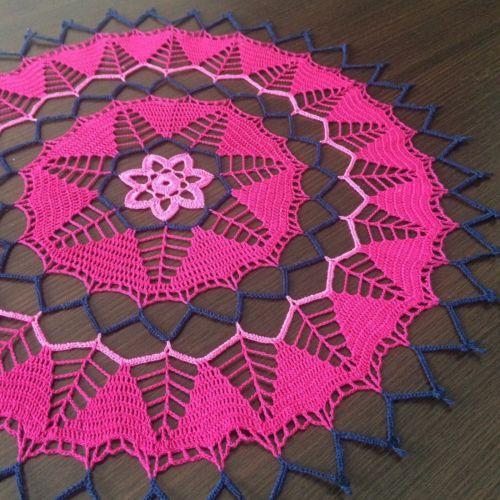 Handmade-Crochet-Lace-Doily-Centerpiece-Tablecloth-Pink-Dark-Blue