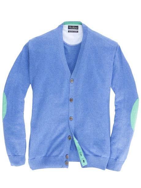 Der Baumwoll-Kaschmir Cardigan von Tom Rusborg verleiht jedem Outfit etwas Besonderes. Mit seinen trendigen Ärmelpatches passt er hervorragend zu einem modischen Freizeithemd.