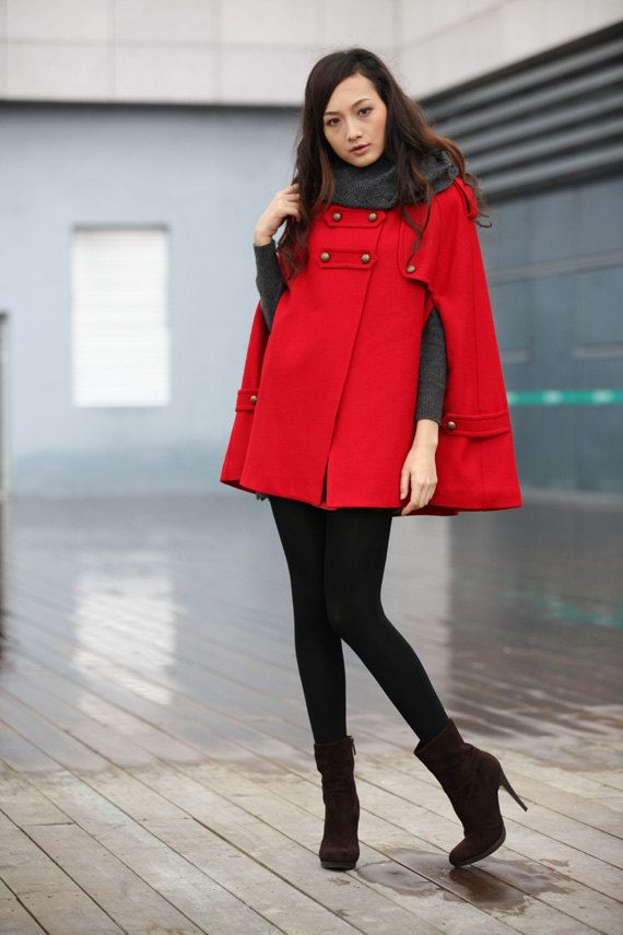 RED Cape Coat Double Breasted Cape Hooded Wool Winter Cape Coat Hood Wool Cloak Hoodie Cashmere Cape Jacket for Women - NC228.