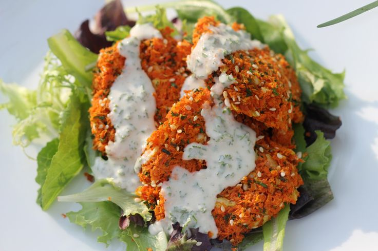 Raw Vegan Carrot Patties with Tahini Dressing