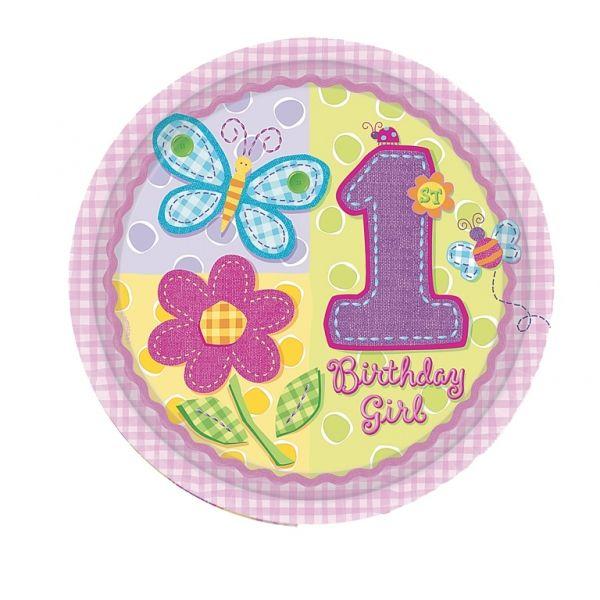 Piatti 1° compleanno bambina pz.8 AMS591012   Europarty