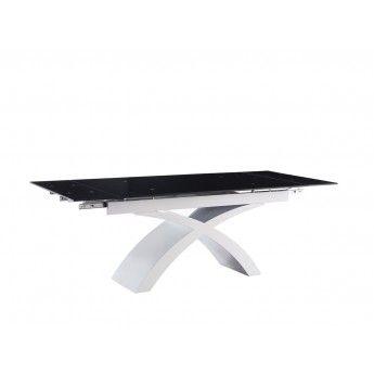 Стильный современный стол со стеклянной столешницей черного цвета #гдемебелькупить #купитьмебель #мебельмосква #обеденныйстол ↪️ http://gdemebelkupit.ru/stoly-obedennye/1335-stol-alf25.html