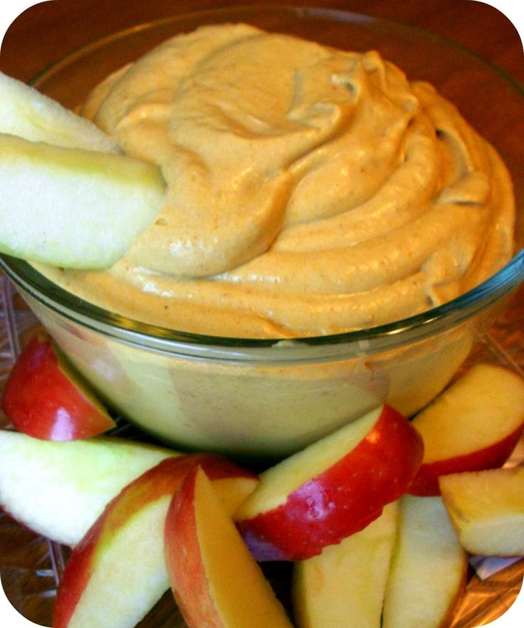This pumpkin pie dip sounds DE-licious! 1/2 cup = 100 calories. Eat it with apple slices or graham crackers and it would be a great low calorie appetizer at your next party.