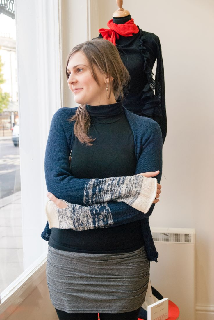 Kate cosying up to a chiaroscuro cardi