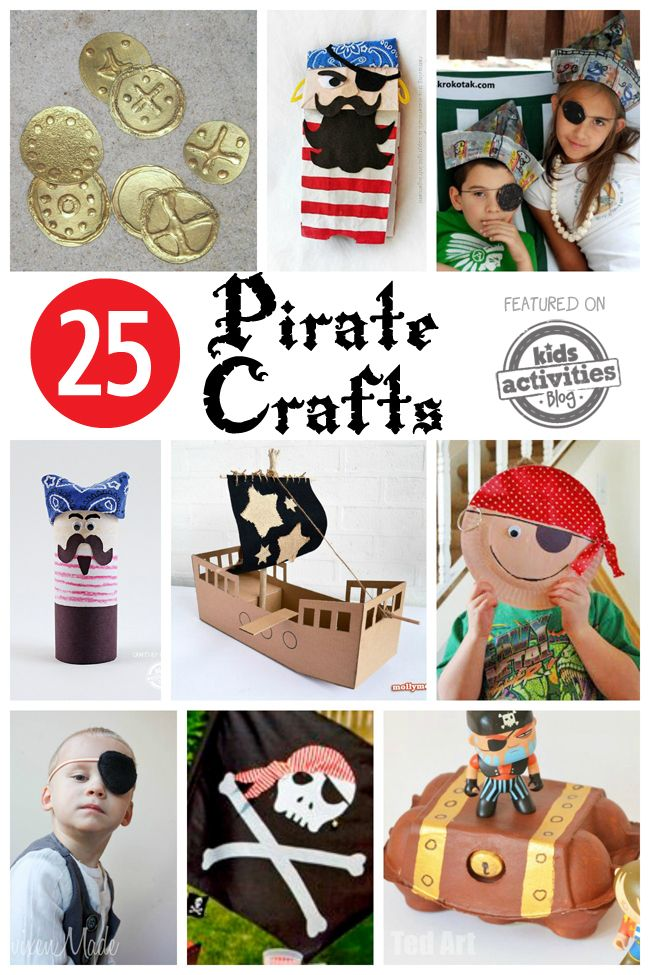 Pirate crafts for kids to make! These are darling and so much fun for little pirate fans.