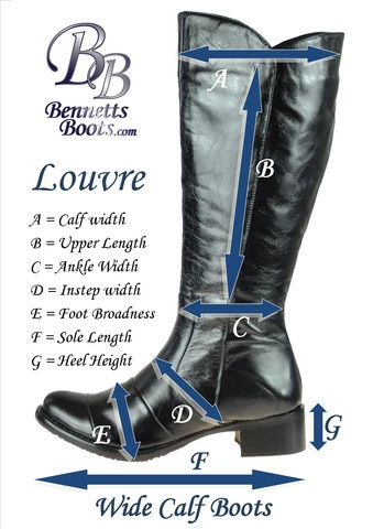 To help our customers get the perfect fit the first time we have provided measurements of our most popular styles - see http://www.bennettsboots.com/ for more information.
