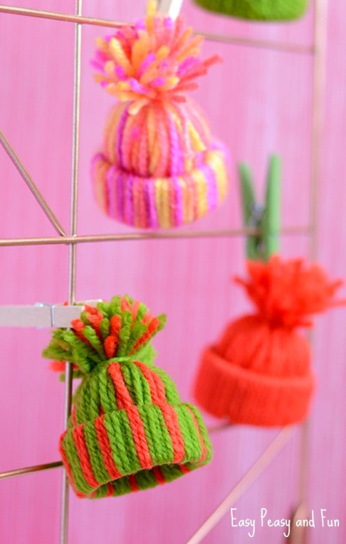 Yarn Hat Ornaments - Christmas Ornaments Kids Can make