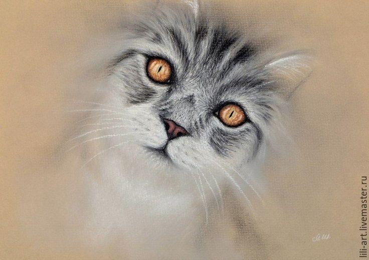 Купить Янтарные глаза, картина пастелью - кошка, взгляд, пастель, картина, серая кошка, Янтарный