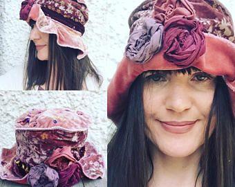 Terciopelo sombrero cloche Festival del sombrero sombrero hada flor del sombrero del sombrero vintage sombrero-mori - boho hat-lagenlook-reciclado-eco moda-steampunk sombrero