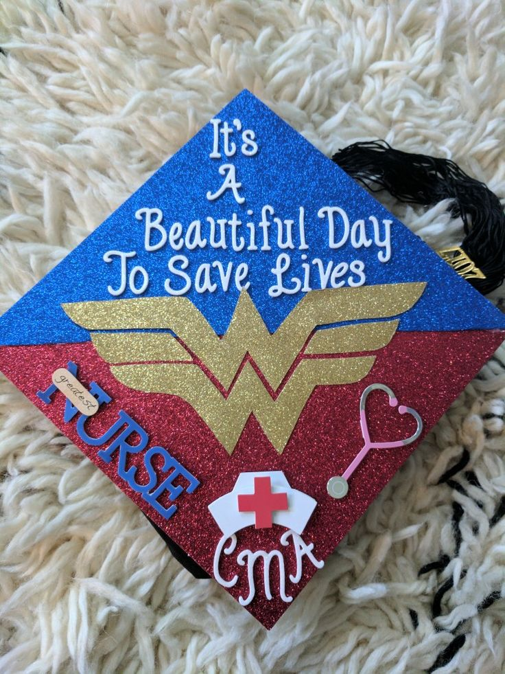 Wonder woman medical assistant graduation cap. I finally finished it just in time for my graduation pictures..