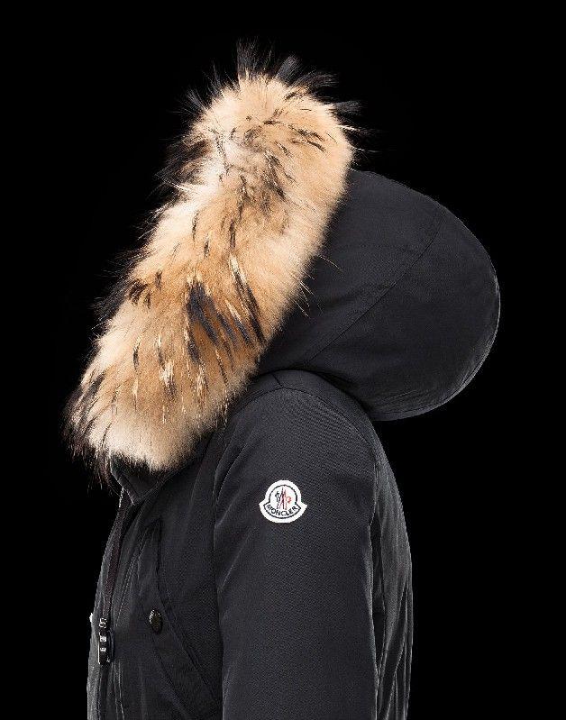 Moncler AYROLLE Damen Anorak Für Sie Schwarz Polyester/Baumwolle/Racoon 41456955NI