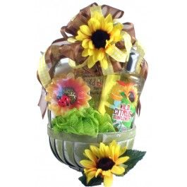 Adorable Citrus Scented Sunflower Spa gift basket for women. http://the1stopgiftshop.com/product/citrus-sunflower-spa-basket/