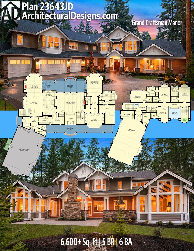 Architectural Designs Craftsman Plan 23643JD has 5 beds and 6 baths and 6,600+ square feet of heated living space. Ready when you are. Where do YOU want to build? #23643jd #adhouseplans #architecturaldesigns #houseplan #architecture #newhome #newconstruction #newhouse #homedesign #dreamhome #dreamhouse #homeplan #architect #architect #houses #house #homestyle