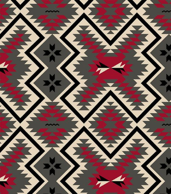 Snuggle Flannel Fabric - Red Grey Aztec