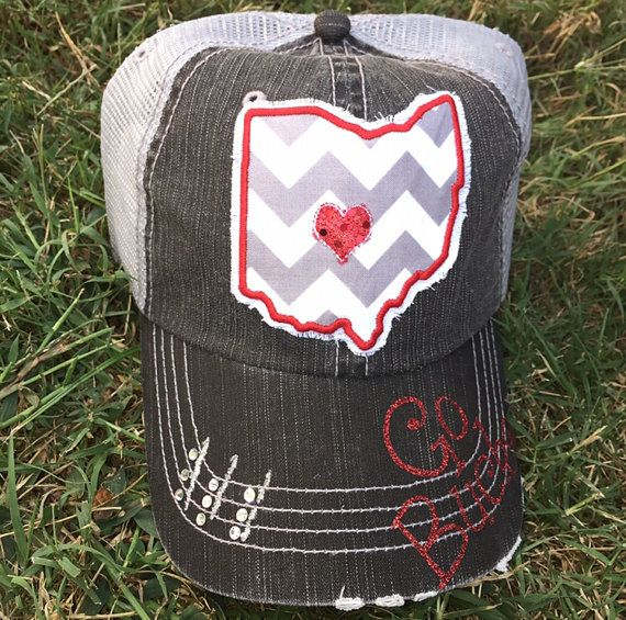 Ohio State University Buckeyes Baseball Bling Ladies Womens Trucker Hat OSU by Chasing Elly