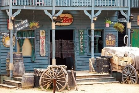 Old western style building and bar Stock Photo