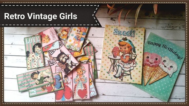 24xVintage Retro Girl paper ephemera,Cute scrapbook,Tea Party Theme Favour Tags