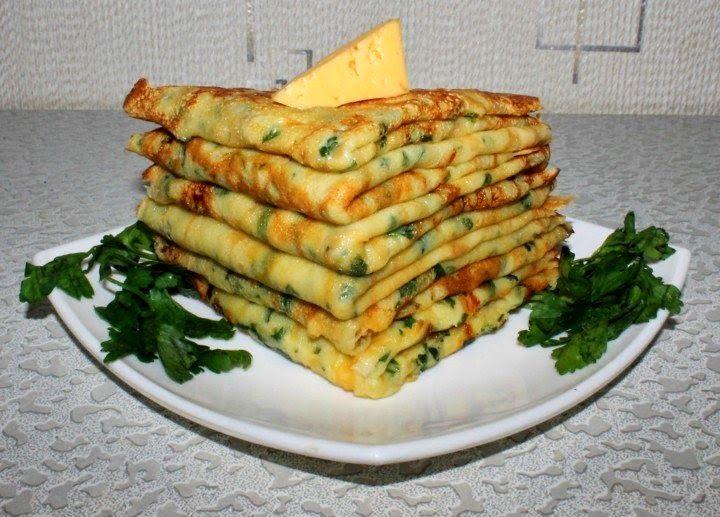 Самые вкусные рецепты: Сырные блинчики с петрушкой