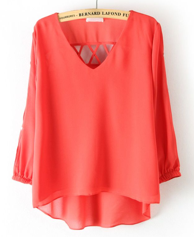 Red Long Sleeve Back Hollow Chiffon Blouse