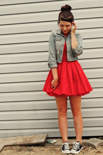 Red Jones and Jones dress, New Look light blue jacket and black Converse sneakers