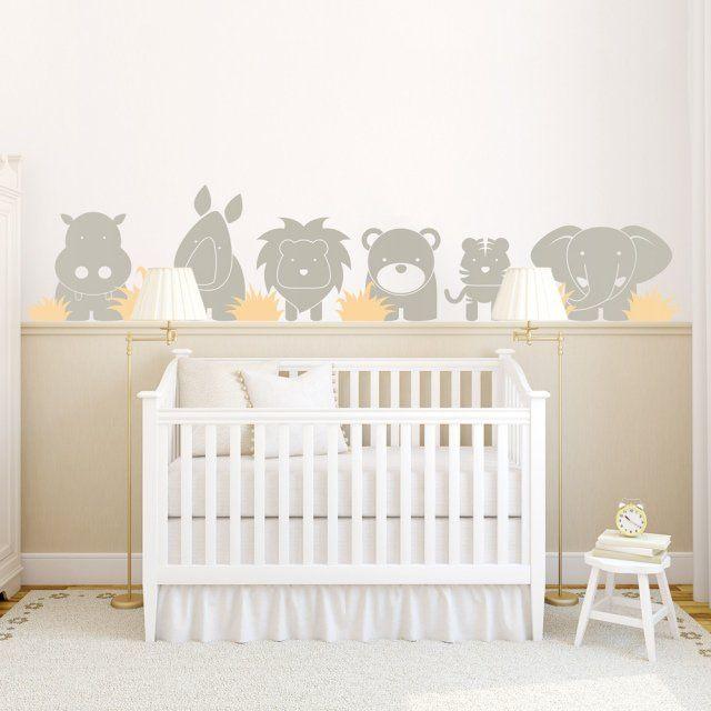 animaux sauvages stickers muraux en gris clair dans la chambre bébé