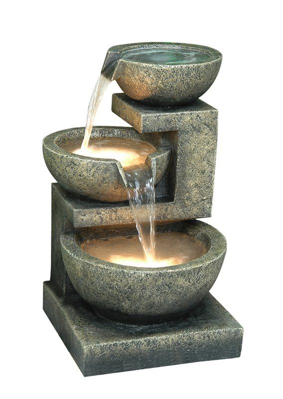 Fiber And Resin Bowl Fountain With Light Water Features Fountain Fountains Outdoor