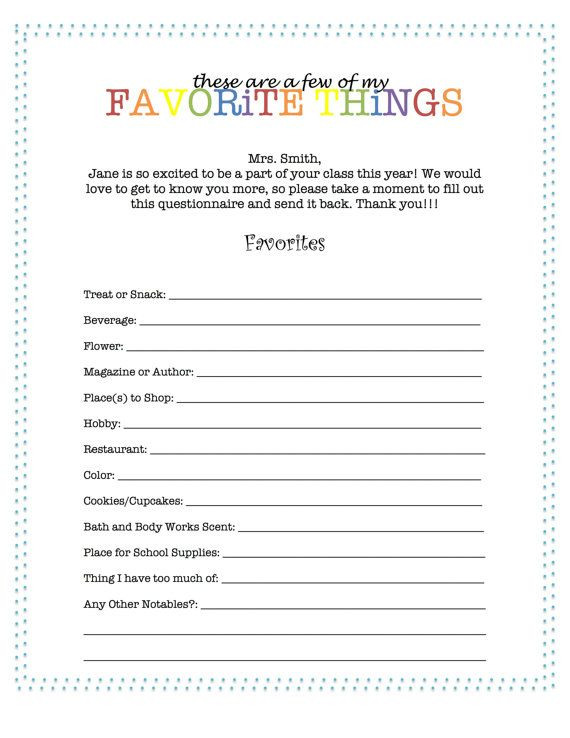 customizable teacher favorites worksheet by tinytypographie for teachers pinterest. Black Bedroom Furniture Sets. Home Design Ideas