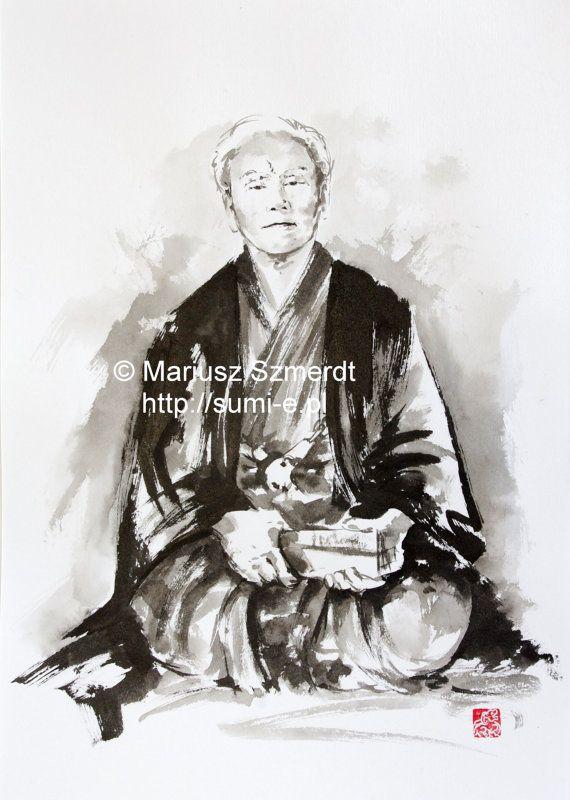 Gichin Funakoshi Karate martial arts Sensei master sumi-e watercolor painting
