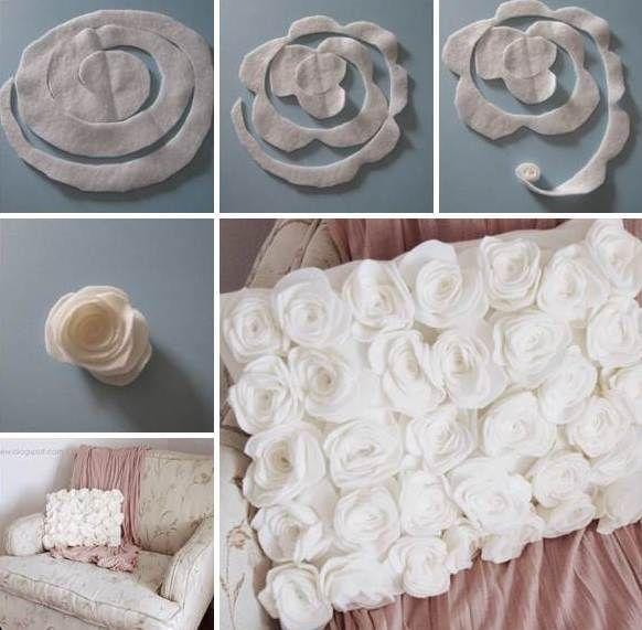 coole idee für kissenbetzung aus DIY rosen selber nähen                                                                                                                                                                                 Mehr