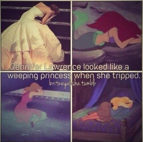Jennifer Lawrence - weeping princess.... This is so funny because it's exactly what I thought when I saw the photos. And I love the gown! And her!