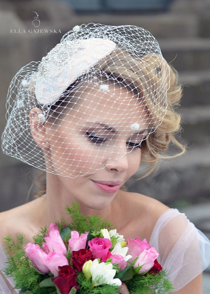 Pin Up Wedding - 1950's Bridal Headpiece Fascinator - Birdcage Veil - Custom Made - Vintage Weddings - Elegant Ivory - Pale Pinks - Handmade Floral - Designer - Ella Gajewska
