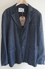 Claudio Milano Linen Blazer Mens Large L Long Sleeve 2 Button Front Blue New