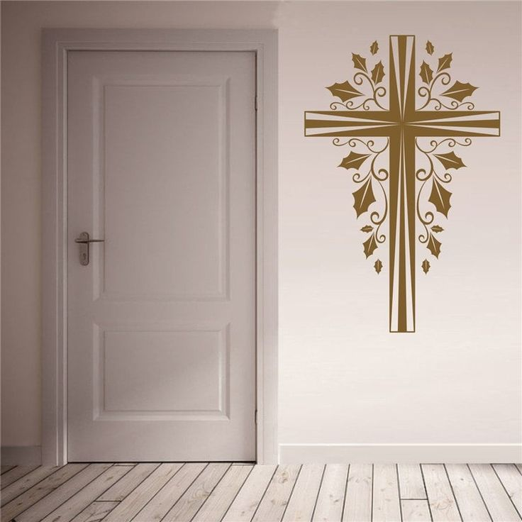 Cross Christmas Decoration Removable Wall Stickers - BROWN