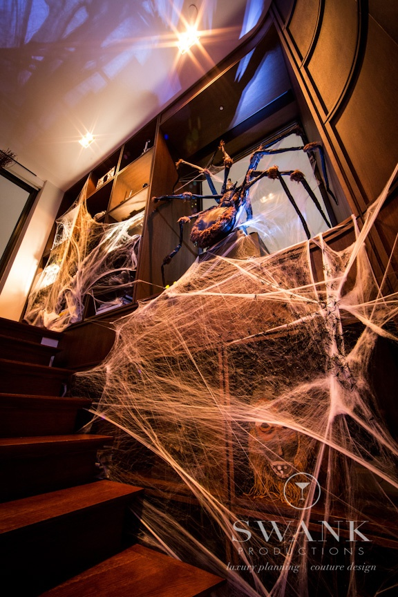 halloween nyc penthouse swank productions halloween giant spider web entry - Halloween Ceiling Decorations