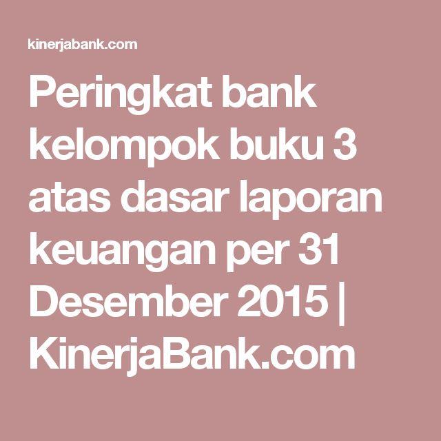 Peringkat bank kelompok buku 3 atas dasar laporan keuangan per 31 Desember 2015 | KinerjaBank.com