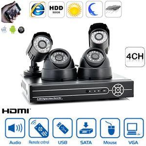 Kit de surveillance vidéo DVR 4CH avec 2 caméras intérieures et 2 caméras extérieures IP66 - LED IR - H.264 - 400 TLV - LAN - SATA - Compatible Smartphone