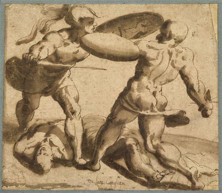 Deux soldats romains combattant, avec à leurs pieds deux corps étendus - CAMBIASO Luca